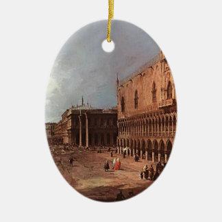 El palacio del dux de Canaletto- Adorno Ovalado De Cerámica