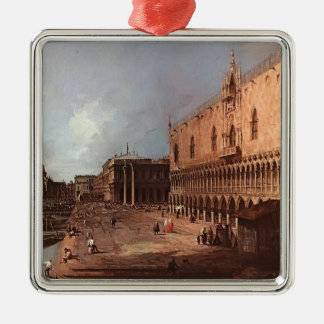 El palacio del dux de Canaletto- Adorno Cuadrado Plateado