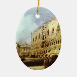 El palacio del dux de Richard Parkes Adorno Ovalado De Cerámica