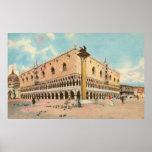 El palacio del dux de Venecia de la acuarela del v Póster