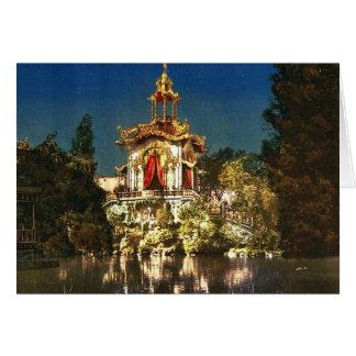 El palacio Lumineux, noche, universal de la exposi Tarjeta De Felicitación