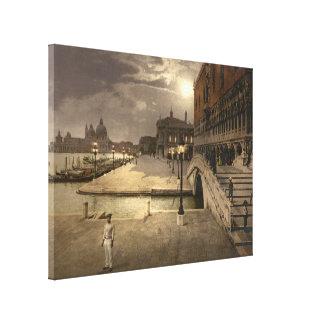 El palacio por claro de luna, Venecia, Italia del  Lienzo Envuelto Para Galerias