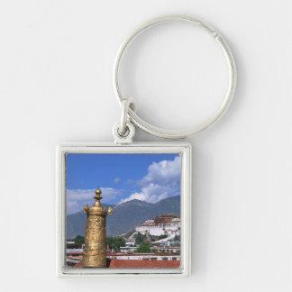 El palacio Potala en Lasa, Tíbet tomado de Llavero Cuadrado Plateado