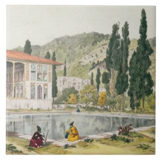 El palacio y los jardines de Ashref, Persia, placa Azulejo Cuadrado Grande