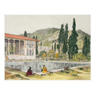 El palacio y los jardines de Ashref, Persia, placa Tarjetas Postales
