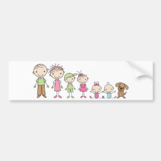 El palillo de la familia figura a pegatinas para e etiqueta de parachoque