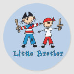 El palillo piratea pequeño Brother Pegatina Redonda