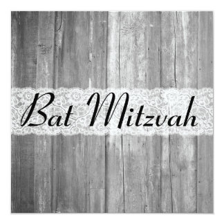 El palo de madera gris Mitzvah del país elegante Invitación 13,3 Cm X 13,3cm