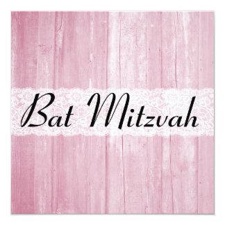El palo de madera Mitzvah del rosa elegante Invitación 13,3 Cm X 13,3cm