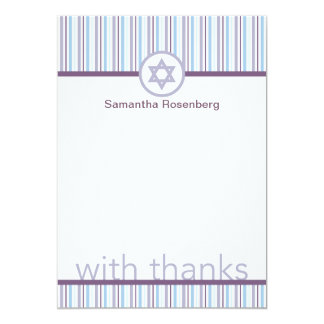 """El palo ligero y brillante Mitzvah le agradece Invitación 5"""" X 7"""""""