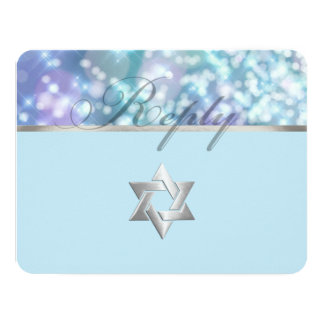 El palo Mitzvah Bokeh enciende el azul Invitación 10,8 X 13,9 Cm