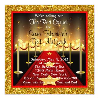 """El palo Mitzvah de Hollywood de la alfombra roja Invitación 5.25"""" X 5.25"""""""