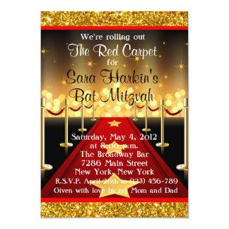 """El palo Mitzvah de Hollywood de la alfombra roja Invitación 5"""" X 7"""""""