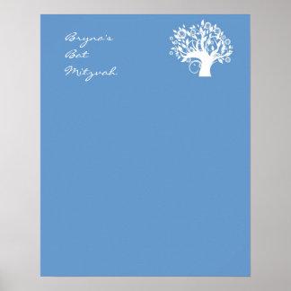 El palo Mitzvah firma adentro el árbol azul del ta Poster