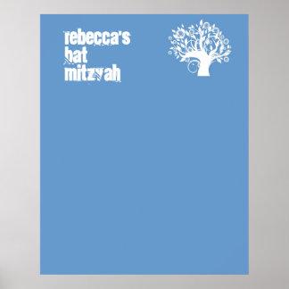 El palo Mitzvah firma adentro el árbol azul del ta Impresiones