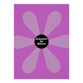 El palo Mitzvah firma adentro rosa de la flor de l Impresiones
