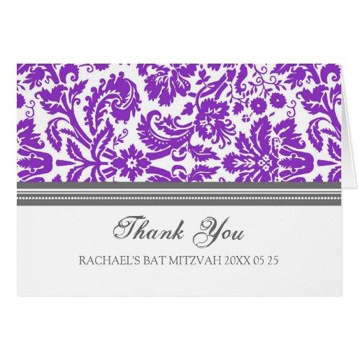 El palo púrpura Mitzvah del damasco le agradece ca Felicitación
