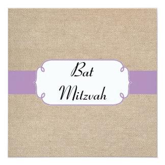 El palo violeta y beige Mitzvah del vintage de la Invitación 13,3 Cm X 13,3cm