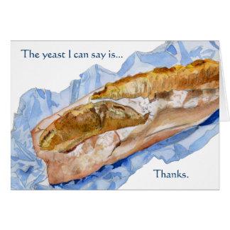 El pan francés del pan del Baguette le agradece Tarjeta De Felicitación