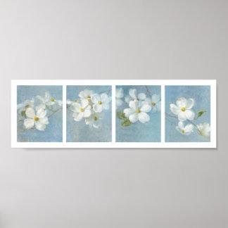 El panel blanco del flor póster