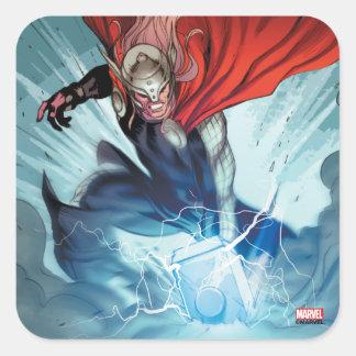 El panel cómico del martillo del Thor Pegatina Cuadrada