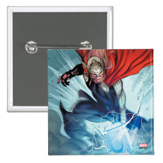 El panel cómico del martillo del Thor Pin Cuadrado