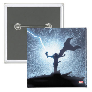 El panel cómico del relámpago del Thor Pin Cuadrado