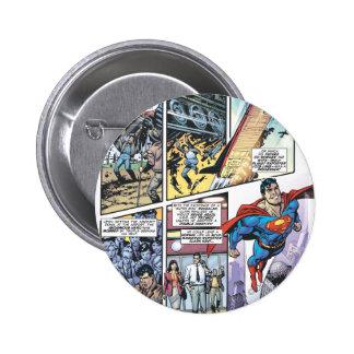 El panel cómico del superhombre - los orígenes 2 d pin redondo de 2 pulgadas