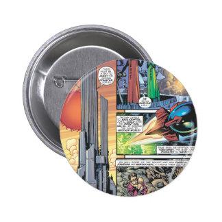 El panel cómico del superhombre - los orígenes de  pin redondo de 2 pulgadas