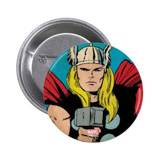 """El panel cómico del trueno del Thor """"dios"""" Pin Redondo De 2 Pulgadas"""