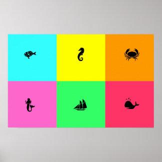 El panel de Glow_six del océano, multicolor, Póster