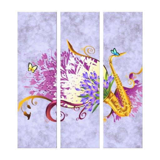 El panel de la música 3 del saxofón de la fantasía impresión en lienzo estirada