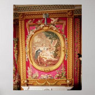 El panel de la tapicería que representa el Cupid y Póster