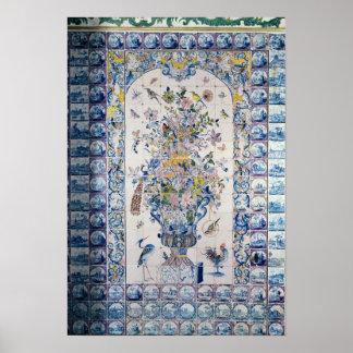 El panel de la teja de Delft del cuarto de baño Posters