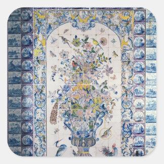 El panel de la teja de Delft del cuarto de baño Pegatinas Cuadradas