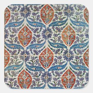 El panel de las tejas de la loza de barro de Isnik Pegatina Cuadrada