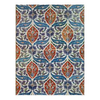 El panel de las tejas de la loza de barro de Isnik Tarjeta Postal