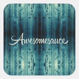 El panel de madera de Awesomesauce Pegatinas Cuadradas