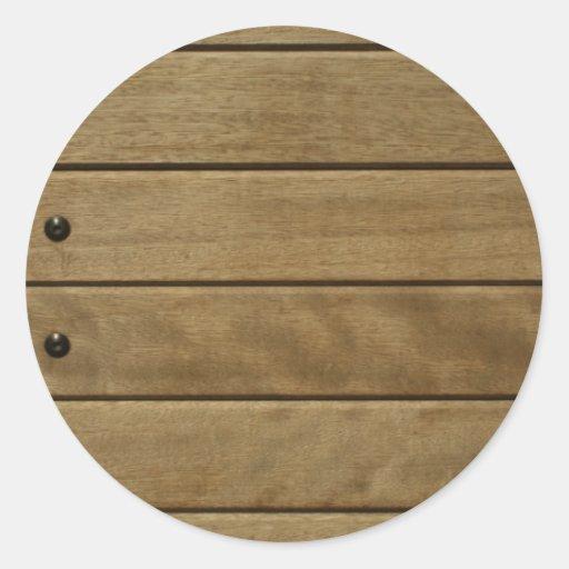 el panel de madera pegatina redonda