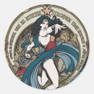 El panel de Nouveau del arte de la Mujer Maravilla Pegatina Redonda
