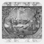 El panel de Overdoor con el tema chino, c.1730 Pegatina Cuadrada