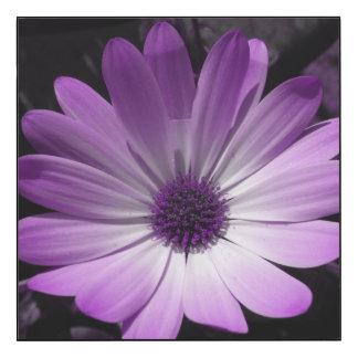 El panel de pared brillante de la flor púrpura de impresión en madera
