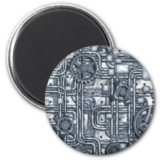El panel de Steampunk - engranajes y tubos - acero Imán Redondo 5 Cm