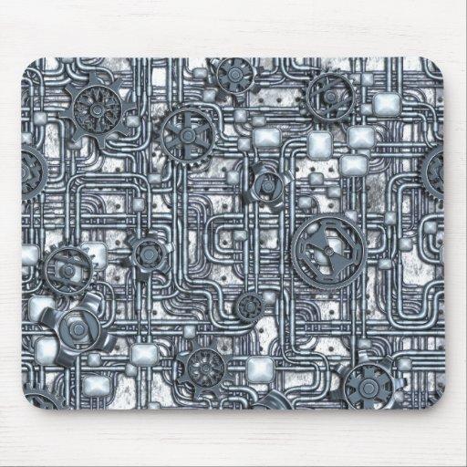 El panel de Steampunk - engranajes y tubos - acero Mouse Pads