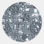 El panel de Steampunk - engranajes y tubos - acero Pegatina Redonda