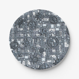 El panel de Steampunk - engranajes y tubos - acero Plato De Papel De 7 Pulgadas
