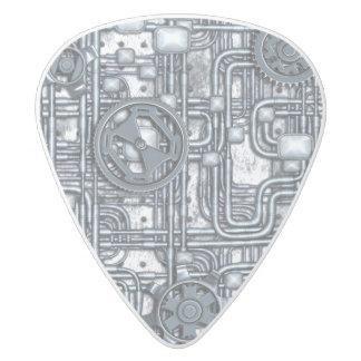 El panel de Steampunk - engranajes y tubos - acero Púa De Guitarra Delrin Blanco