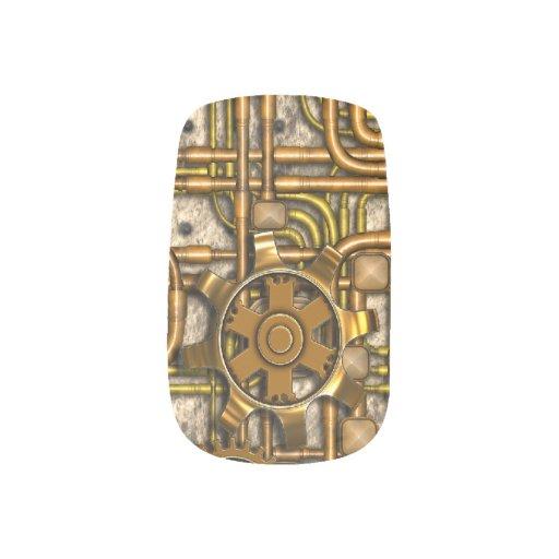 El panel de Steampunk - engranajes y tubos - latón Pegatina Para Manicura