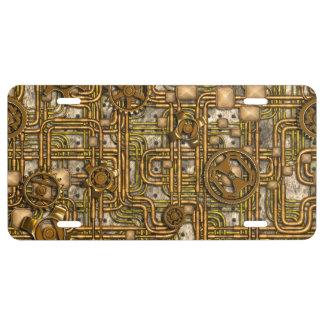 El panel de Steampunk - engranajes y tubos - latón Placa De Matrícula