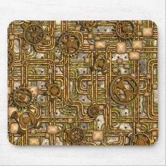El panel de Steampunk - engranajes y tubos - latón Alfombrillas De Raton